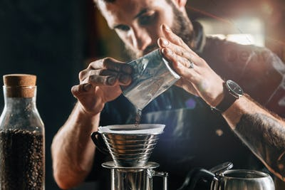 Barista Making Kalita Drip Brew Coffee