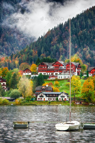 Misty morning on the lake Grundlsee Alps Austria Europe