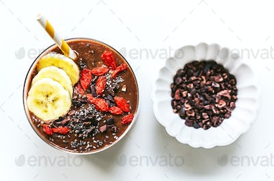 Banana,Coconut water,Chia and Cacao Smoothie
