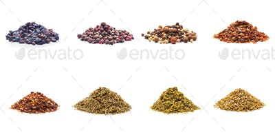 Colorful spices variety collection