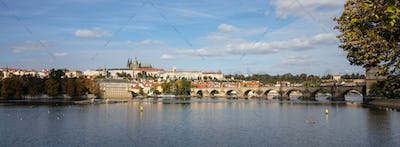 Panoramic view of Prague and Danube river at daytime, Czech Republic, banner