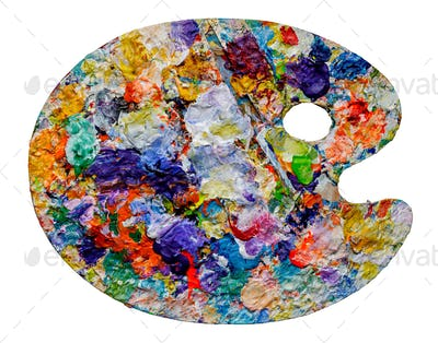 Artist palette with colorful paint spots
