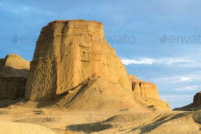 xinjiang wind erosion landform closeup,  urho ghost city at dusk