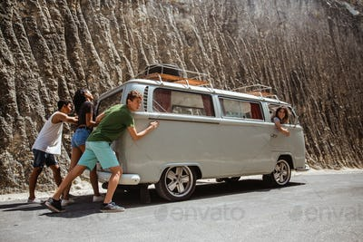 portrait friends hipster push broke down retro van