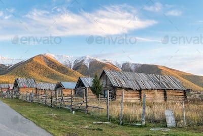 xinjiang baihaba villages at dusk