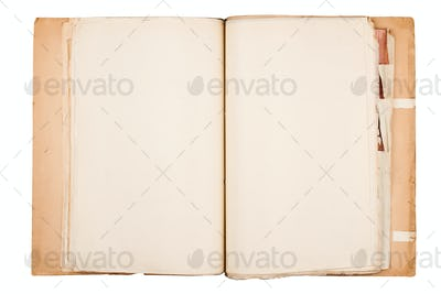 top view of old document folder on white