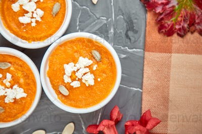Cream of pumpkin soup or souffle. Thanksgiving Day.