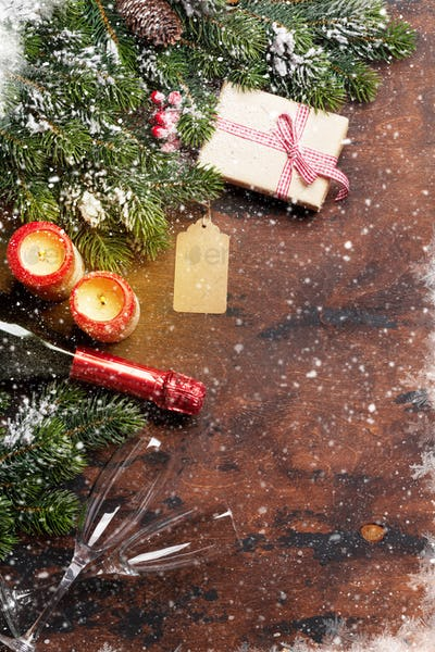 Christmas gift box and champagne bottle