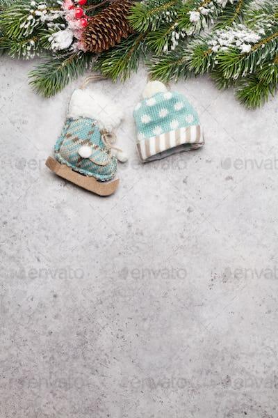 Christmas greeting card with decor