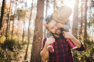 A mature father giving a toddler son a piggyback ride in an autumn forest.