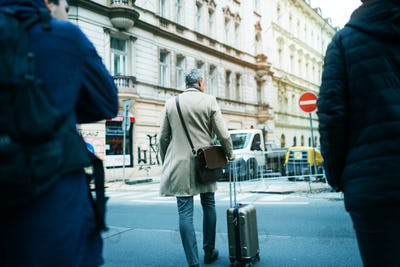 A rear view of mature businessman with suitcase walking in Prague city.