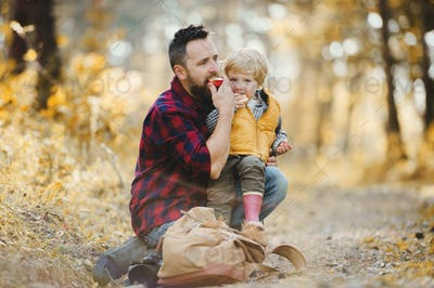 A mature father with a toddler son sitting on the ground in an autumn forest.