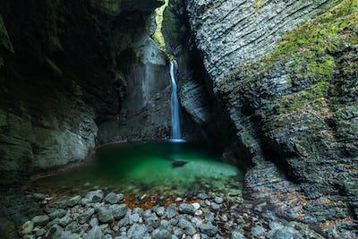 Waterfall Kozjak hidden in cave ,Slovenia