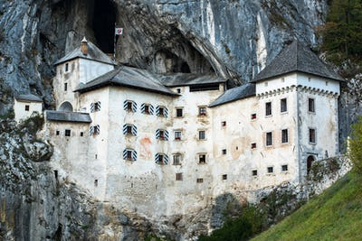 Famous Predjama castle in the mountain, build inside the rock, S