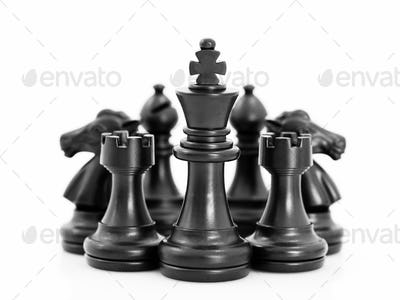 Set of Black chess pieces on white background