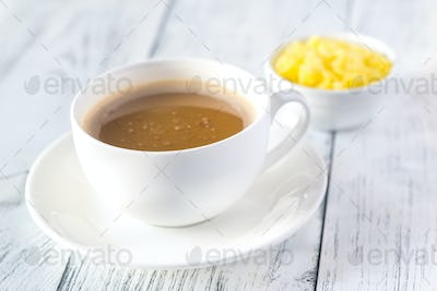 Cup of coffee with ghee butter