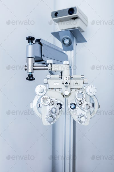 Ophthalmology equipment in doctor's office.