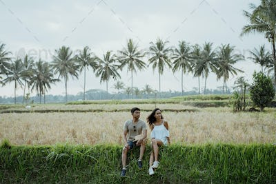 young asian couple with nice style enjoying summer