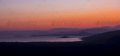 Panorama of sunrise over Abaya Lake and Nechisar national park i