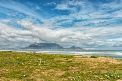 Table Mountain as seen across Table Bay from Dolphin Beach