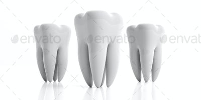 Clean shiny teeth isolated on white background. 3d illustration