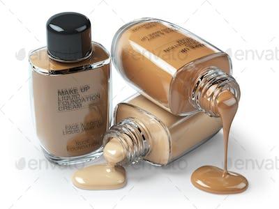 Make up liquid foundation cream cosmetics bottles isolated on wh
