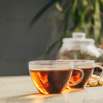 Tea composition on concrete background - space for text