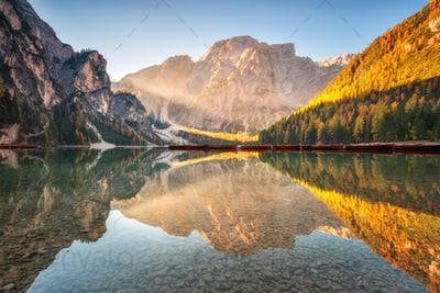 Beautiful Braies lake at sunrise in autumn in Dolomites, Italy