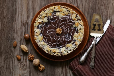 Cake with Nuts and Chocolate