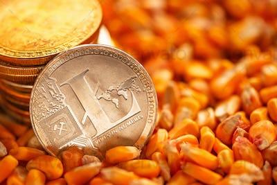 Litecoin on top of corn kernels heap