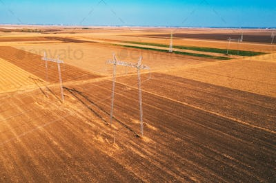 High voltage electricity pylons for power transmission in field