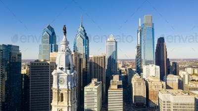 Urban Core City Center Tall Buildings Downtown Philadelphia Pennsylvania