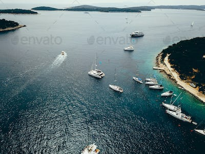 Aerial view photo of picturesque port with sailboats and yachts