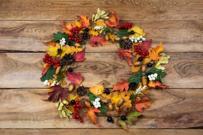 Fall wreath with viburnum and black berries