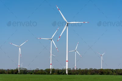 Wind turbines in an agricultural area