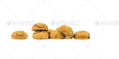 Bunch of pepernoten treats on white background