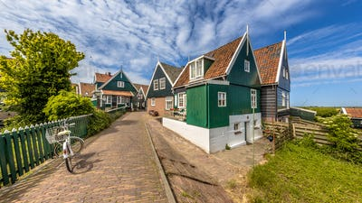Characteristic Dutch village scene with colorful wooden houses
