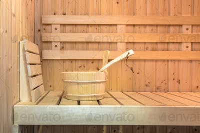 Seat in Interior of Finnish sauna