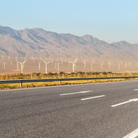 highway and wind farm