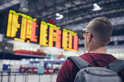 Young man at airport
