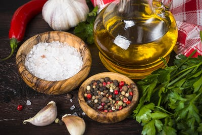 Ingredients for cooking on wooden background