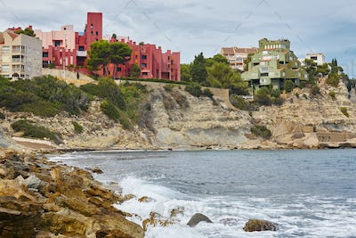 Spanish mediterranean coastline in Alicante. La manzanera. Red wall. Calpe