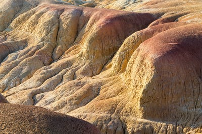 xinjiang colorful beach landform closeup, natural background texture