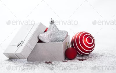 Red christmas decorations isolated
