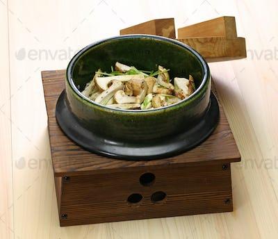 japanese matsutake gohan, rice cooked with matsutake mushroom