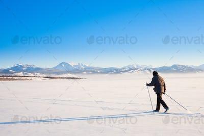 Cross-country skier skiing Lake Laberge Yukon Canada
