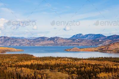 Lake Laberge Yukon boreal forest taiga fall