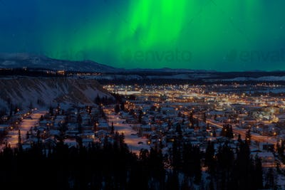 Northern Lights over Downtown Whitehorse