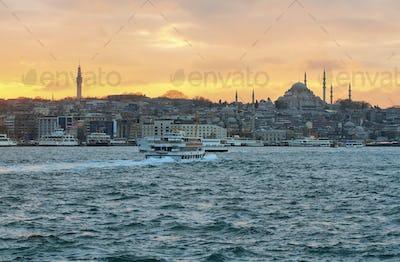 Istanbul skyline at sunset