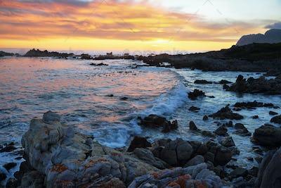Sunset in idyllic beach of Kleinmond